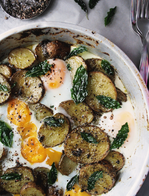Pesto Potatoes and Eggs