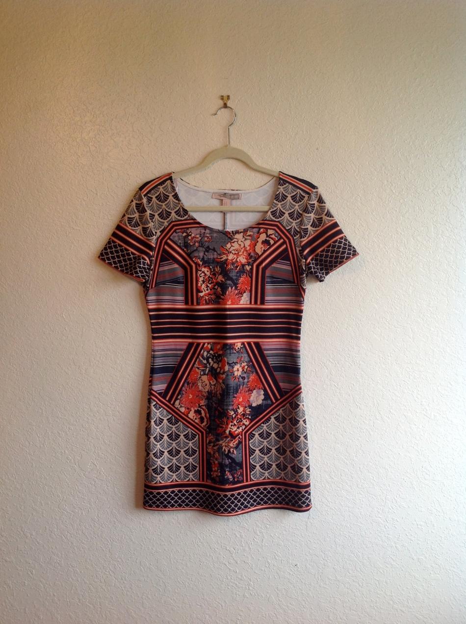 Ornate Print Bodycon Dress