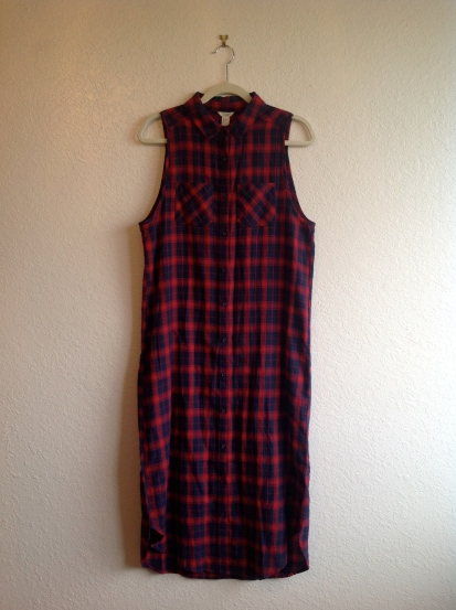 Plaid Button-Down Midi Dress