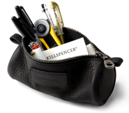 BLACK LEATHER : PENCIL CASE