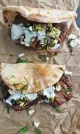 Grilled Lamb Pitas w/ Pistachio & Mint Pesto