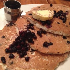 Wild Blueberry Pancakes & Maple Bacon Butter at Lazy Dog