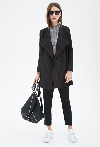 Textured Shawl Collar Wrap Jacket
