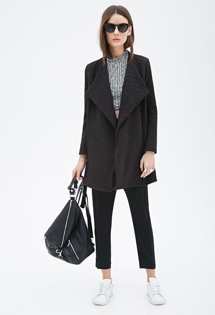 Textured Shawl Collar Wrap Jacket