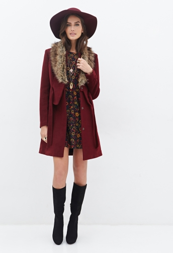 Faux Fur Collar Coat