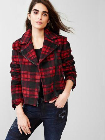 Festive Plaid Wool Moto Jacket