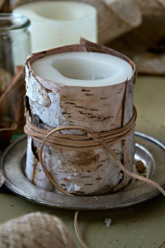 Birch Bark Candles DIY