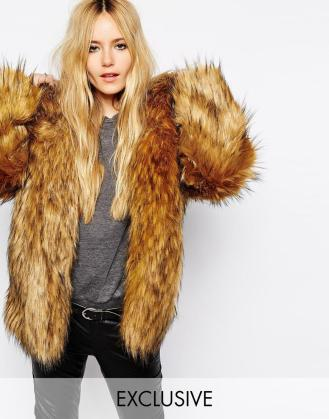Story Of Lola Oversized Hooded Faux Fur Coat