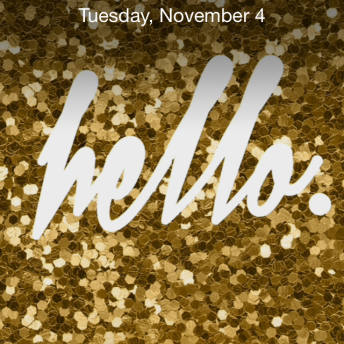 """Gold Glitter Hello"" iPhone Wallpaper"