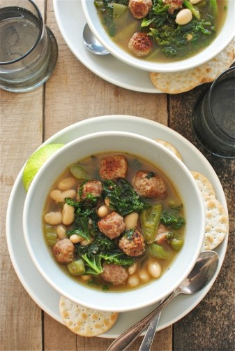 03. Soup with Sausage Meatballs, White Beans, and Kale