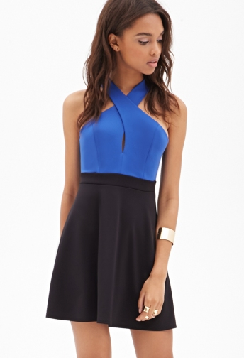 Twist-Back Colorblocked Dress
