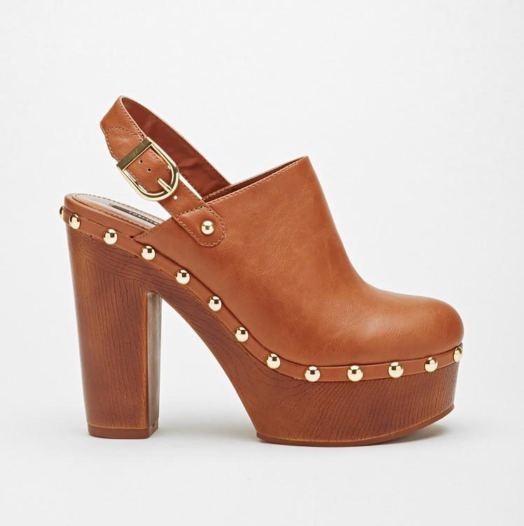 Faux Leather Platform Clog