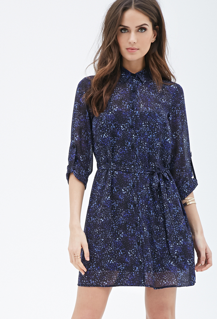 Watercolor Print Shirt Dress