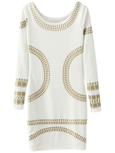 White Gold Stamping Long Sleeve Bodycon Dress