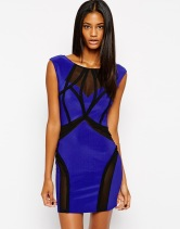 Lipsy Ribbed Body-Conscious Dress with Mesh Inserts