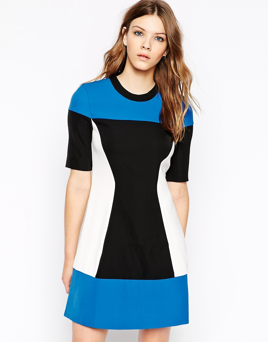 Y.A.S High Neck Short Sleeve Color Block Dress