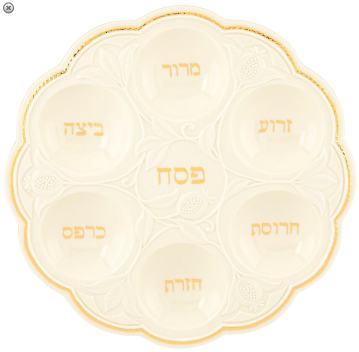 Lenox Judaic Blessings Seder Plate White