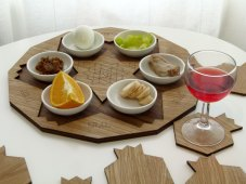 Passover Wooden Seder Plate + Set of Pomegranate Coasters
